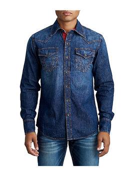 Mens Contrast Stitch Western Denim Shirt by True Religion