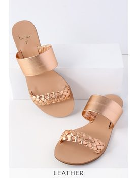Caylee Rose Gold Nappa Leather Slide Sandals by Lulu's