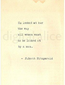 Custom Order 5 Vintage Typewriter Prints F Scott Fitzgerald Gatsby Quote   Printed On Cardstock by Digital Alice