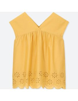Women Cotton Embroidery Sleeveless Blouse by Uniqlo