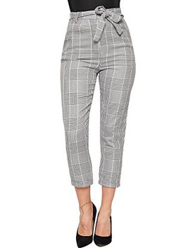 Wear All Women's Houndstooth Multi Check Print Belted Turn Up Pants by Wear All