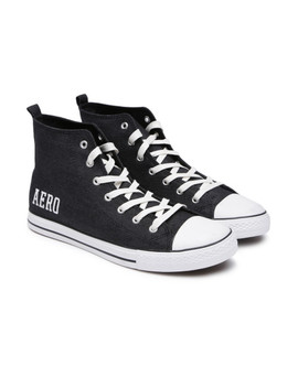 Aeropostale Men Black Solid Canvas High Top Sneakers by Aeropostale