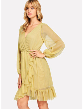 Ruffle Detail Bishop Sleeve Wrap Dress by Shein