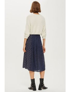 Spot Button Pleat Midi Skirt by Topshop