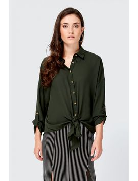 Oversized Tie Front Shirt by Select