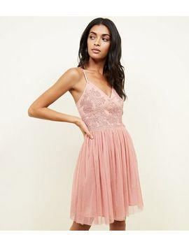 Deep Pink Embroidered Mesh Party Skater Dress by New Look