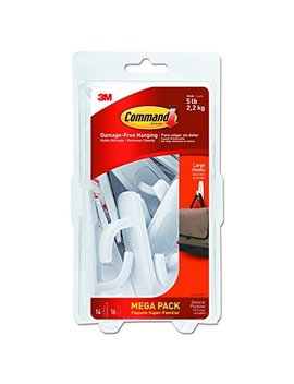 Command Large Utility Hook Mega Pack, White, 14 Hooks, 16 Strips (17003 Mpes) by Command