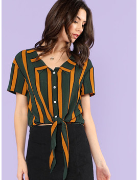 Vertical Stripe Knot Hem Shirt by Shein