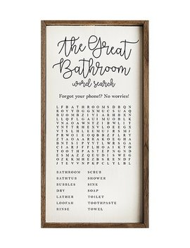 'the Great Bathroom Word Search' Wood Wall Sign by Kendrick Home
