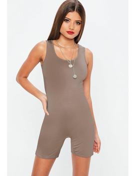 Taupe Cycling Unitard Playsuit by Missguided