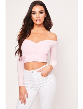 Dayna Pink Wrap Front Bardot Crop Top by Misspap
