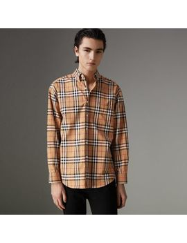 Button Down Collar Vintage Check Cotton Shirt by Burberry