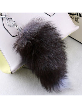 Real Mink Fur Tail Tassel Leather Handbag Charm Car Key Chain Finder by Unbranded