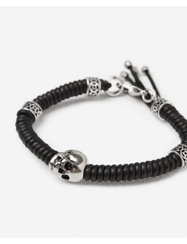 Woven Canvas Bracelet With Silver Skulls Woven Canvas Bracelet With Silver Skulls by The Kooples