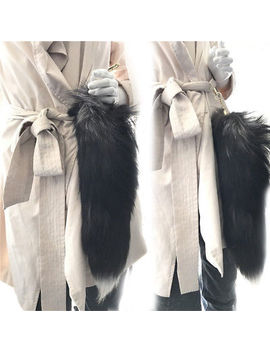 "40cm 16"" Natural Big Real Silver Fox Fur Tail Keychain Tassel Bag Charm Keyring by Handmade"