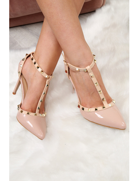 Pink And Beige Studded T Bar Court Heels   Kiri by Rebellious Fashion