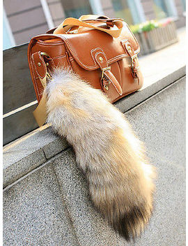 Hot Real Animal Large Luxury Golden Fox Tail Fur Keychain Tassel Bag Tag Charm by Handmade