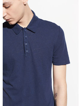 Short Sleeve Linen And Cotton Polo by Vince
