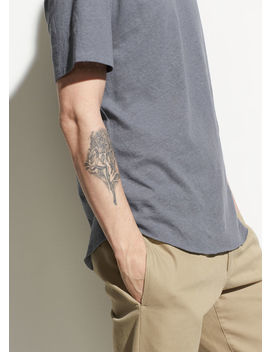 Raw Hem Linen And Cotton Short Sleeve by Vince