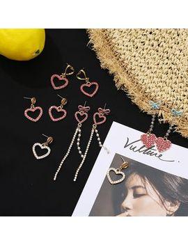 Rhinestone Heart Dangle Earring / Drop Earring / Fringed Earring by Gold Beam