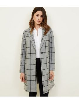 Grey Grid Check Longline Coat by New Look