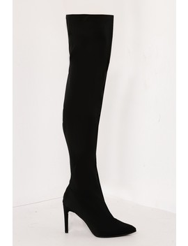 Black Lycra Thigh High Boots by Lasula