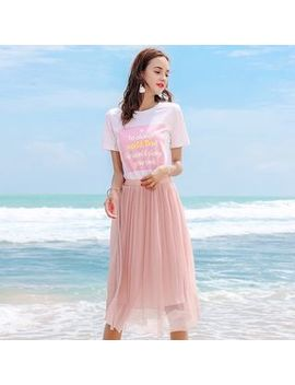 Mock Two Piece Short Sleeve Dress by Kanf