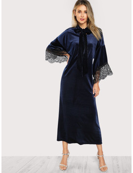 SheinTie Neck Lace Trim Bell Sleeve Hijab Long Dress by Shein