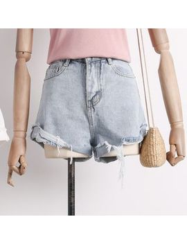 Distressed Rolled A Line Denim Shorts by Lemongrass