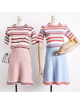Set: Striped Knit Top + A Line Skirt by Lemongrass