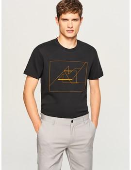 T Shirt Z Geometrycznym Nadrukiem by Reserved
