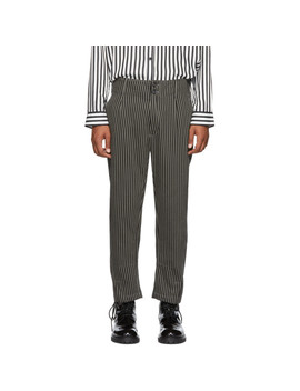 Pantalon En Coton Noir Et Beige Buckley by Ann Demeulemeester