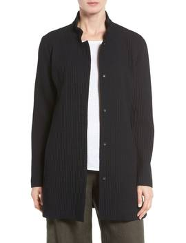 Grid Stretch Cotton & Tencel® Blend Jacket by Eileen Fisher