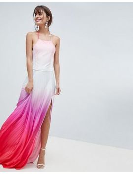 Asos Design Ombre Pleated Maxi Dress by Asos Design
