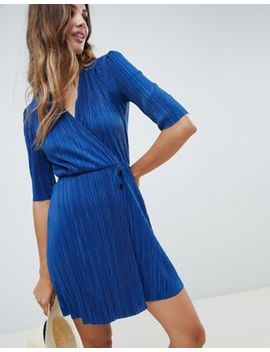 Asos Design Mini Plisse Dress With Button Detail by Asos Design