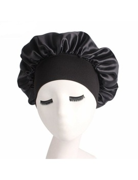 1 Pc Women Wide Band Satin Silk Bonnet Cap Comfortable Night Sleep Cap Ladies Soft Silk Long Hair Care Bonnet Headwrap by Okdeals