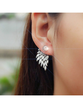 New Fashion Gift Lady Earring Party Jewelry Earrings Gold And Silver Gothic Cool Angel Wing Rhinestones Alloy Earrings For Women by Zheguoyaolu