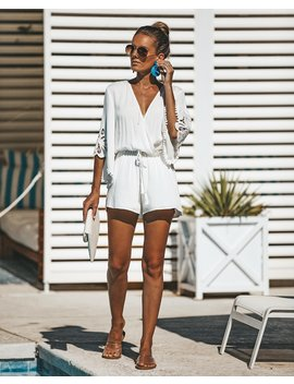 Jewel Lace Romper   Off White by Vici