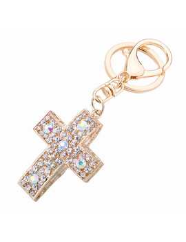 Crystal Cross Keyring Alloy Keychain Fashion Hand Bag Pendant Purse Bag Buckle Key Chain Holder  Jewelry Christian Gift R041 by Zhongtao