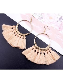 Bohemian Handmade Statement Tassel Earrings For Women Vintage Round Long Drop Earrings Wedding Party Bridal Fringed Jewelry Gift by Crazy Feng