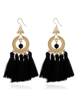 Vintage Fringe Long Tassel Earring For Women Wedding Party Bohemian Jewelry Gold Color Statement Drop Earrings Brinco Feminino by Crazy Feng