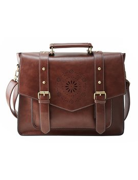 "Ecosusi Women's Retro Pu Leather 14"" Laptop Crossbody Briefcase Messenger Bags, Brown by Ecosusi"