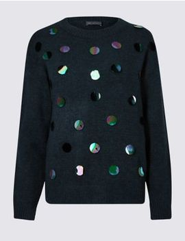Embellished Large Sequin Long Sleeve Jumper by Marks & Spencer