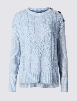 Cotton Blend Textured Round Neck Jumper by Marks & Spencer
