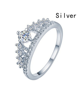 Cubic Zirconia Crown Rings For Women Fashion Crystal Ring Female Party Wedding Engagement Bridal Jewelry by Zhe Fanku