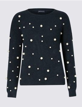 Pearl Embellished Round Neck Jumper by Marks & Spencer