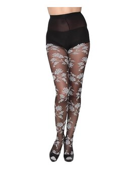 Black & White Floral Tights   Women by Beverly Rock