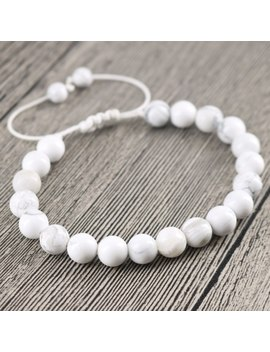Howlite Stone Beaded Jewelry 8mm White Energy Stone Fashion Men And Women Woven Handmade Bracelet & Bangles Mother's Day Gift by Linisorn