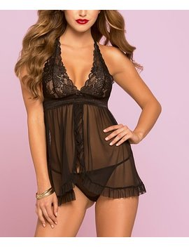 Black Lace Flyaway Babydoll & Thong   Women & Plus by Seven 'til Midnight