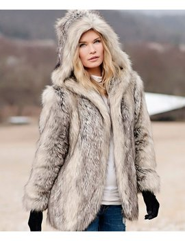 Gray Fox Faux Fur Hooded Coat   Women & Plus by Donna Salyers' Fabulous Faux Furs